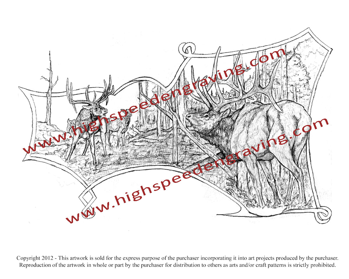 Free Elk Drawing for Gunstock Carving