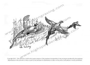 Pheasants Flying Drawing by Dyke Roskelley - High Speed Engraving.com