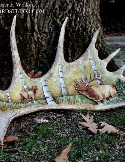 Moose Antler carving by Roger Wolford